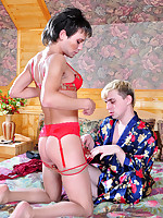 Lusty sissy in red lingerie gets to oral fun and raw bumming with his lover
