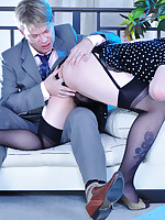 Looking like a girl sissy parts his legs in nylons and heels for a gay guy