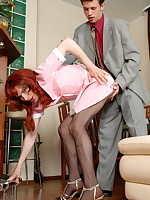 Sissy maid in black pantyhose can't do their chores aching for ass-screwing